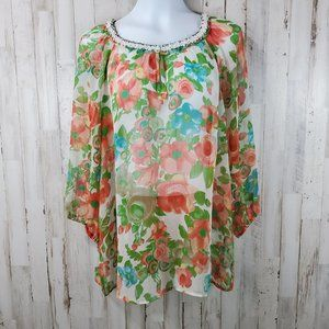 Charter Club Womens Top 16W Cream Floral Sheer